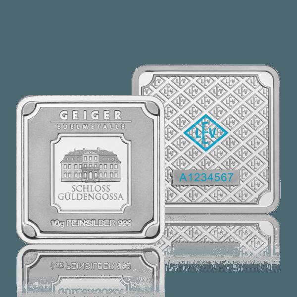Silberbar Geiger - 10 gr. 999 quadratisch