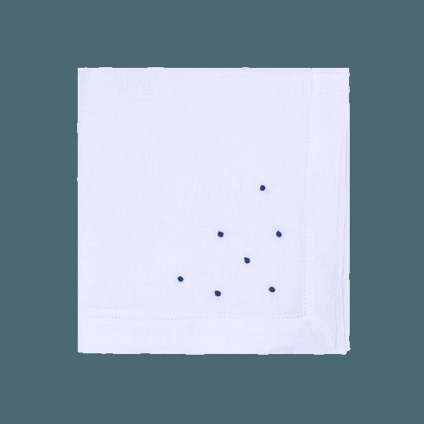 Guardanapo Cambraia de Linho Branco com poas azul marinho