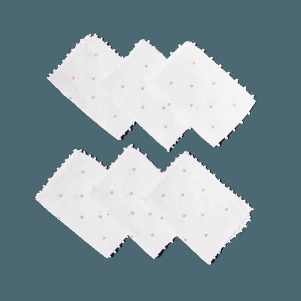 Set Guardanapo de Coquetel Cambraia poás lilás