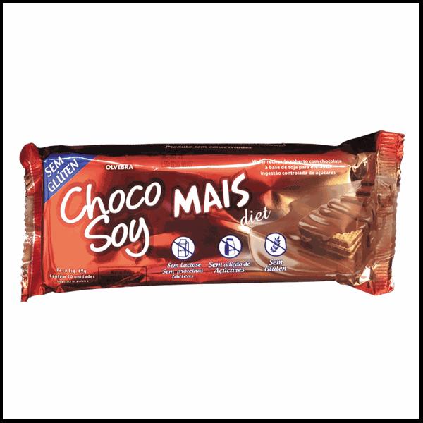 Wafer Chocolate Choco Soy Mais Diet 69g Sem Lactose Sem Glúten