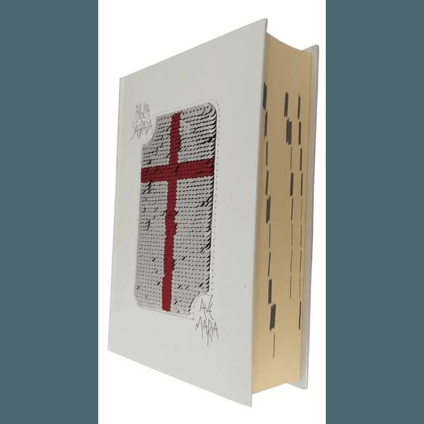Bíblia Ave Maria com Lantejoula - Branco e Vermelho