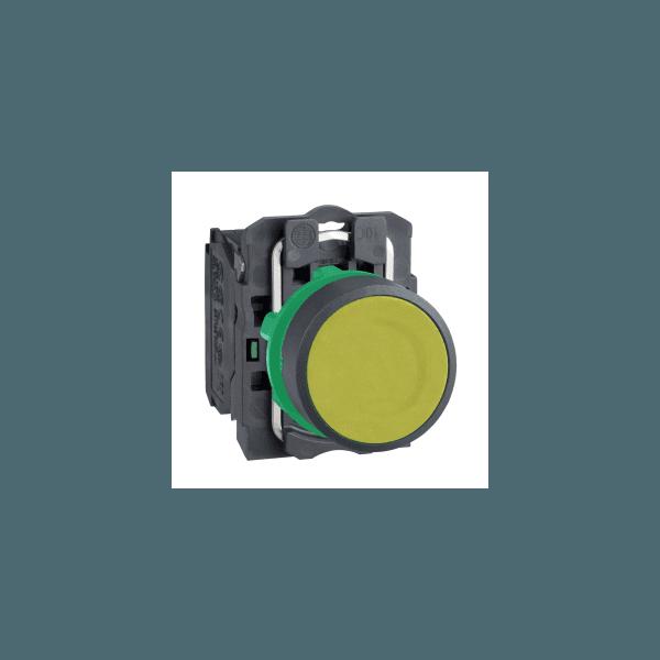 Botão 22mm Plástico Pulsador Amarelo NA XB5EAA51 Schneider