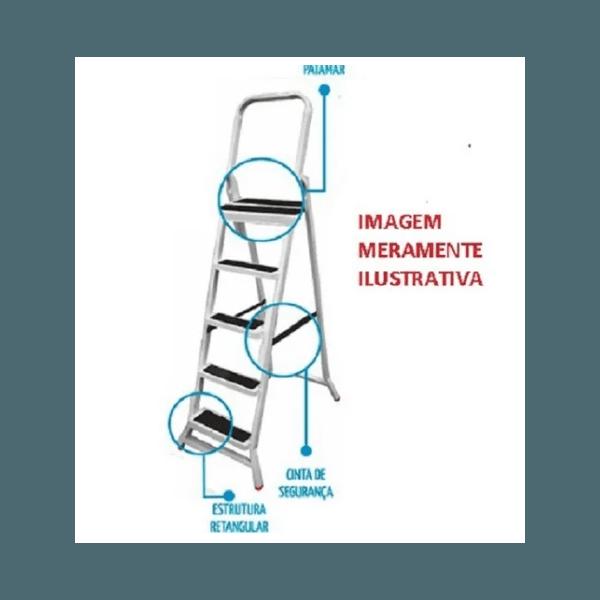 Escada de 6 Degraus para Uso Doméstico Dobrável de Ferro