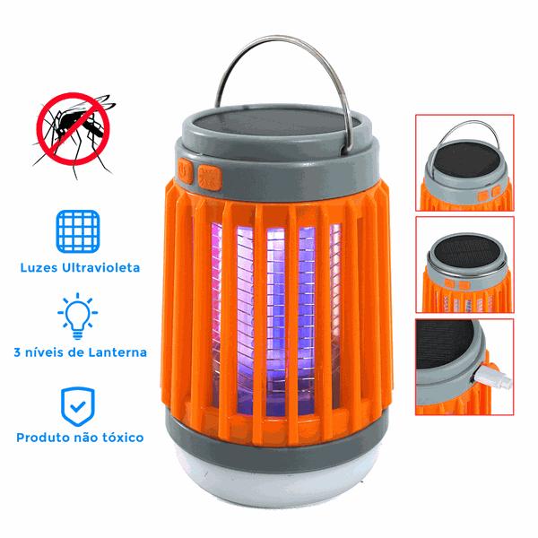 Lâmpada Impermeável Anti-mosquito Camping Recarregável Solar e USB