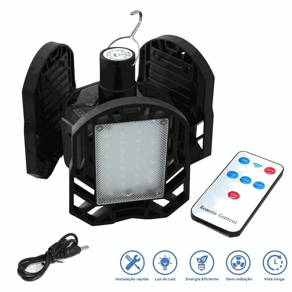Lanterna LED Recarregável Solar e USB Dobrável Camping 3 folhas