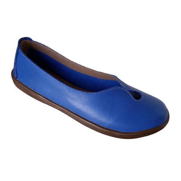 Sapatilha Feminina bico redondo em Couro Azul