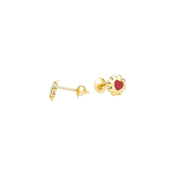 Brinco Flor com Coração Esmaltado Ouro 18k