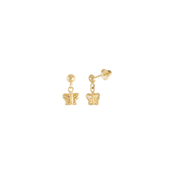 Brinco Borboleta Pendurada Mini em Ouro 18k