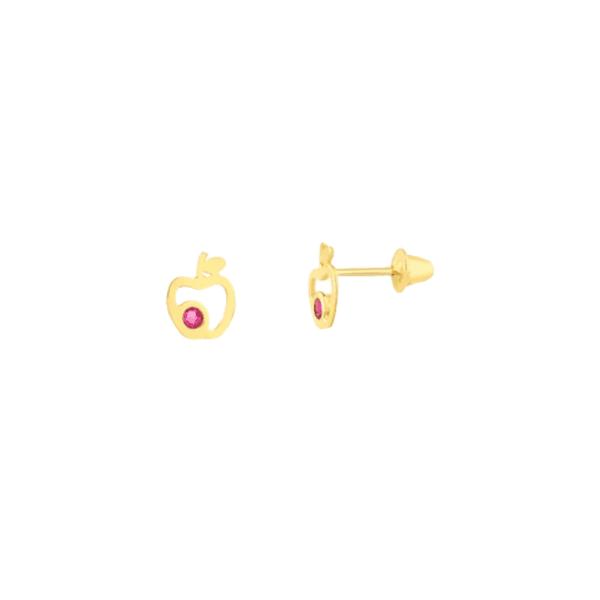 Brinco Maçã com Zirconia Ouro 18k