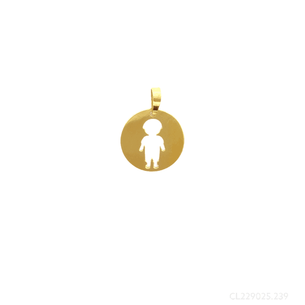 Pingente Redondo com Menino Vazado Ouro 18k