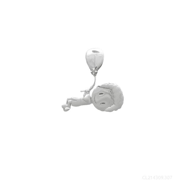 Pingente Menino Cabelo Cacheado com Balão Ouro Branco 18k