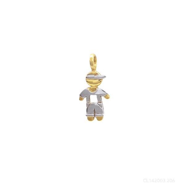 Pingente Menino Ouro Amarelo e Branco