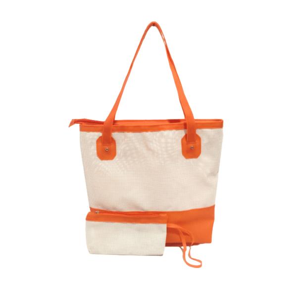 Bolsa Bag Grande Moda Praia De Ombro Com Necessaire Laranja