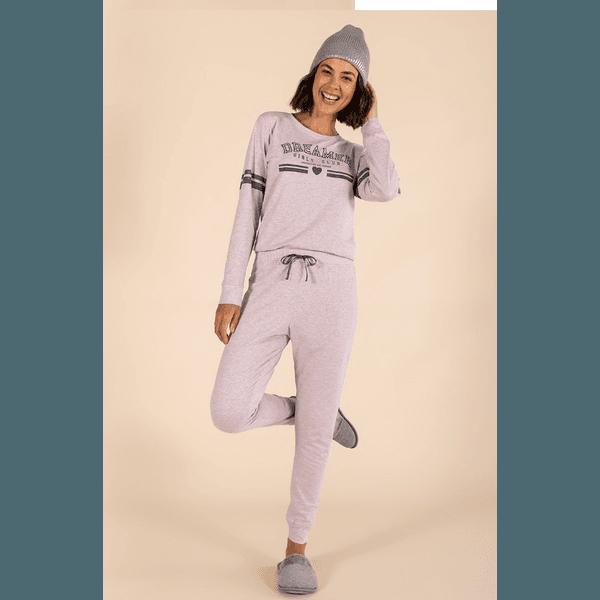 Pijama Longo Feminino Mescla Lilás
