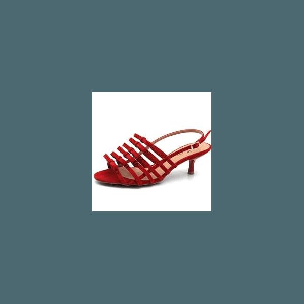 Sandália salto fino Donna Clô suede ruby