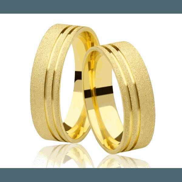 Alianças de casamento e noivado em ouro 18k 750 trabalhada com fosco diamantado 6,50 mm
