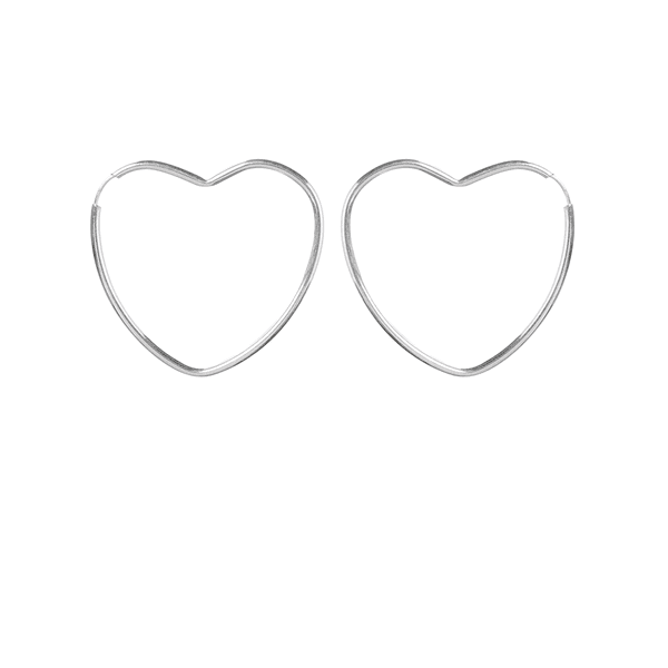 Brinco Argola Coração em Prata 925