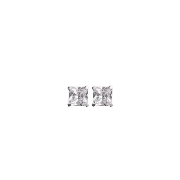 Brinco Quadrado Pedra Zircônia em Prata 950 - 4mm