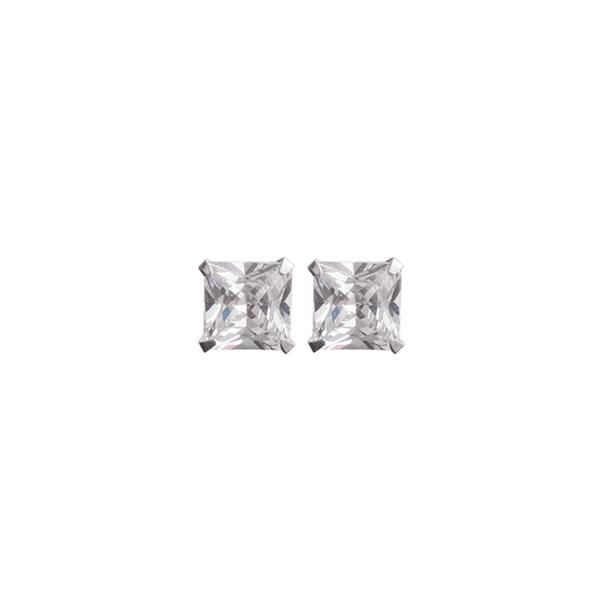 Brinco Quadrado Pedra Zircônia em Prata 950 - 7mm
