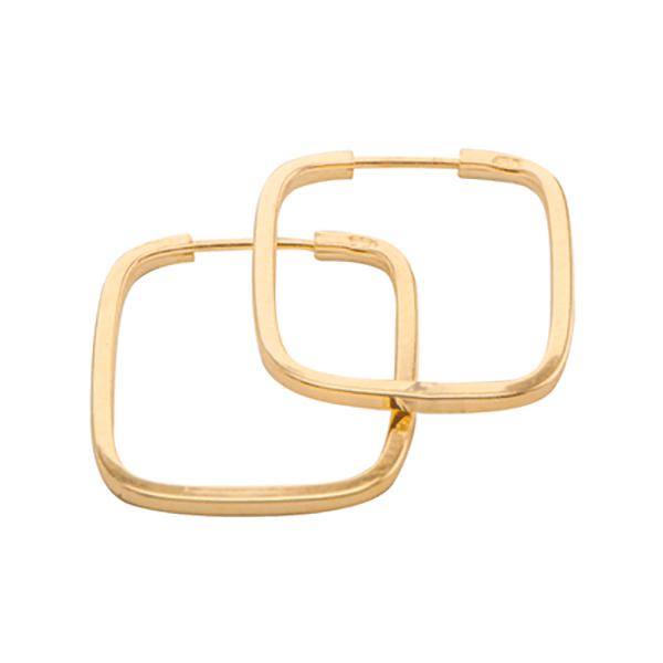 Brinco Infantil De Ouro 18k Argola Quadrada 12mm