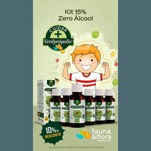 Kit com 06UN Verde Própolis 15% 30ml zero Alcool