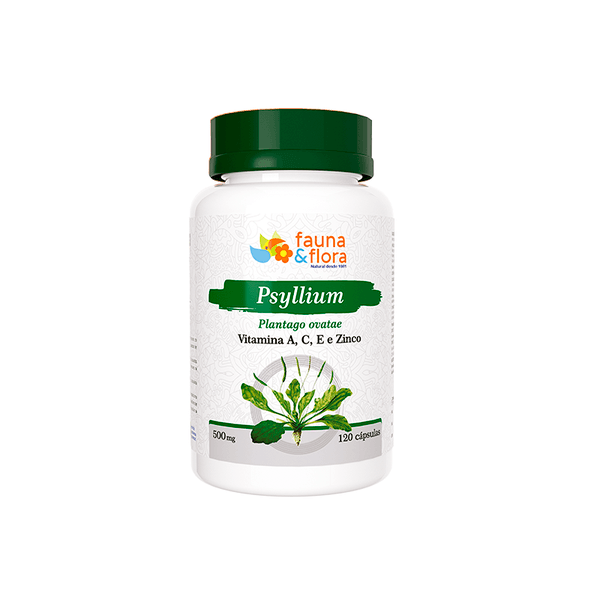 Psyllium 500mg Vitamina A, C, E e Zinco 500mg 120 caps