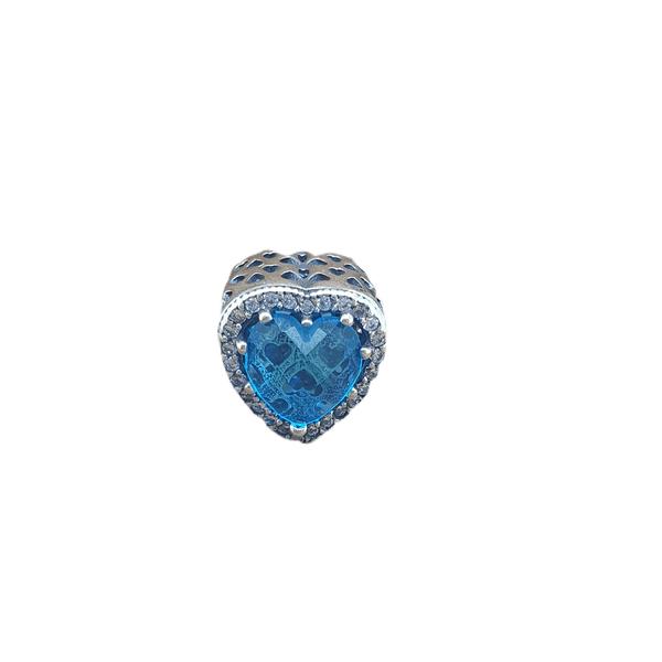 Berloque Prata Coração Azul