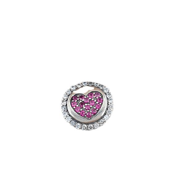 Berloque Prata Coração Rosa