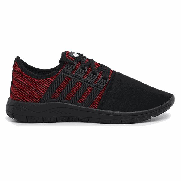 Tênis Caminhada Colors Preto e Vermelho 15008