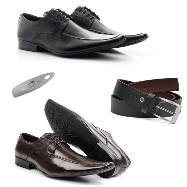 KIT 02 Pares de Sapatos + Cinto + Calçadeira