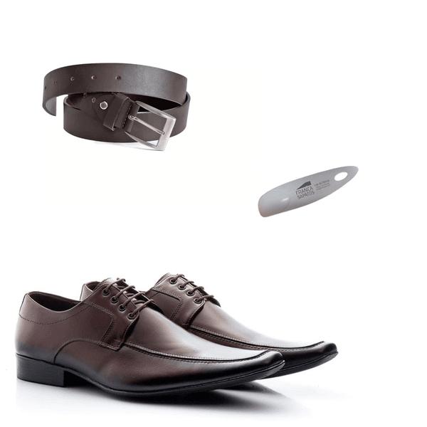 KIT 01 Par de Sapatos Café + Cinto + Calçadeira