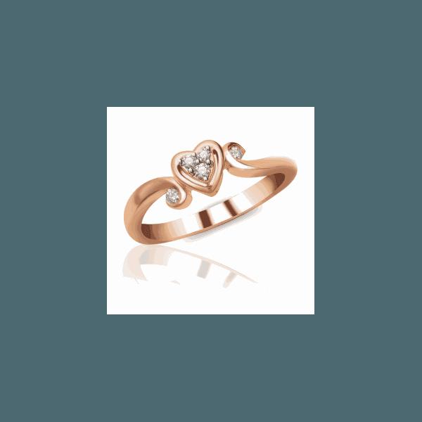 Anel Coração Cravejado com Diamantes e Aro Trabalhado