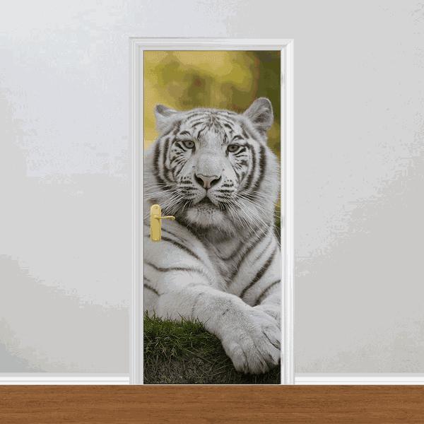Adesivo para Porta - Tigre Branco