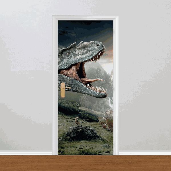 Adesivo para Porta - Dinossauros T-Rex