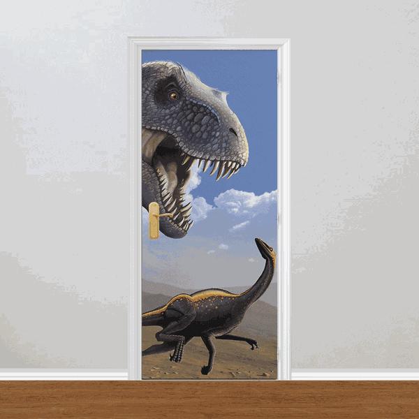 Adesivo para Porta - Dinossauros A Fuga