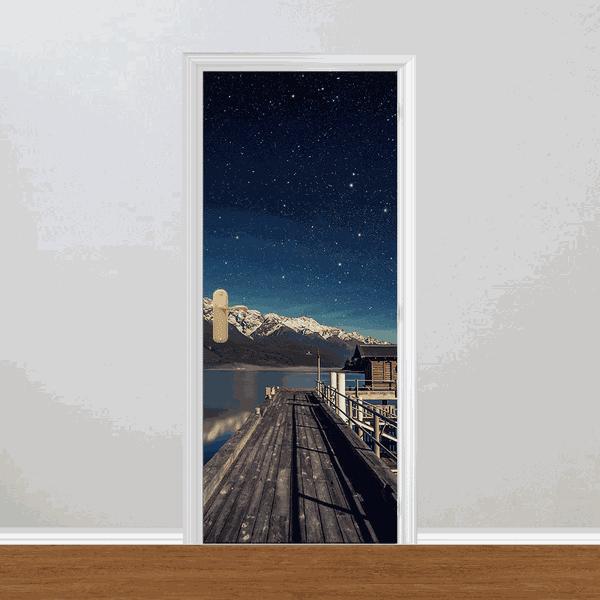 Adesivo para Porta - Noite Lua Cheia nas Montanhas