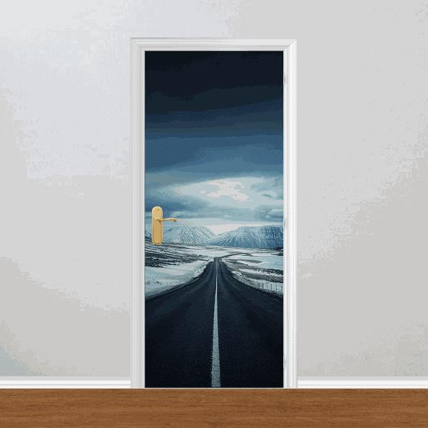 Adesivo para Porta - Estrada Montanhas e Neve