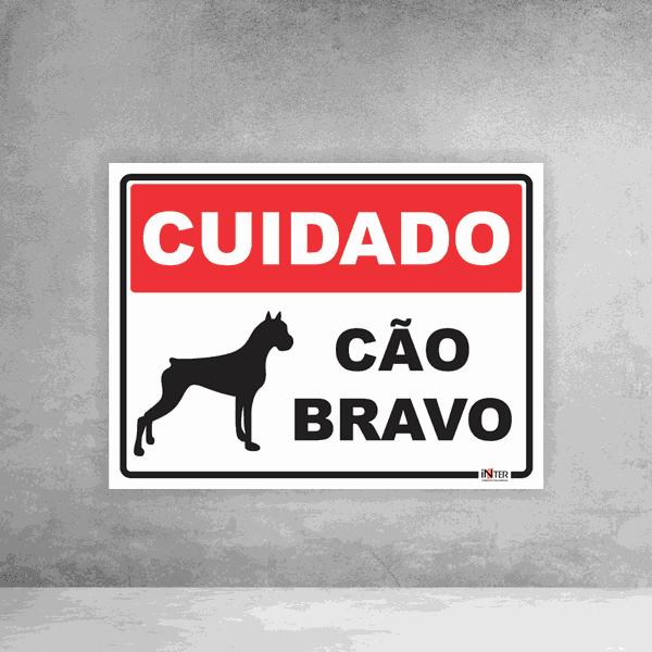 Placa de Sinalização - Cuidado Cão Bravo