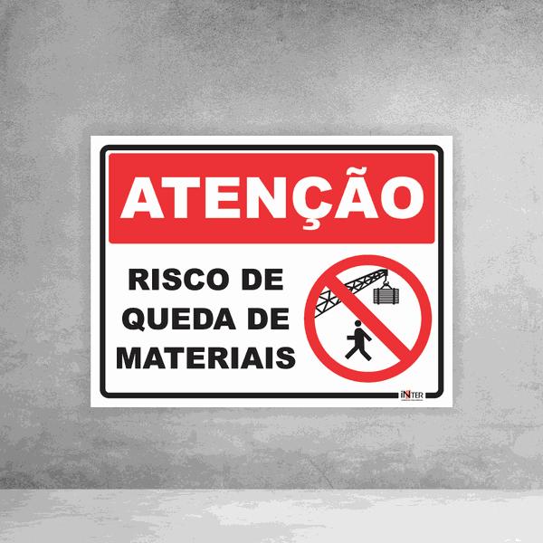 Placa de Sinalização - Atenção Risco de Queda de Materiais