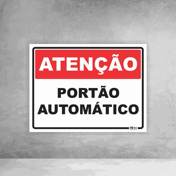 Placa de Sinalização - Atenção Portão Automático