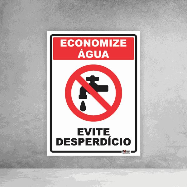 Placa de Sinalização - Economize Água Evite Desperdício
