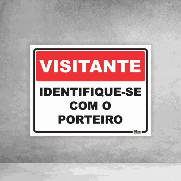 Placa de Sinalização - Visitante Identifique-se com o Porteiro
