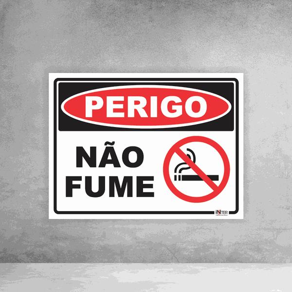 Placa de Sinalização - Perigo Não Fume