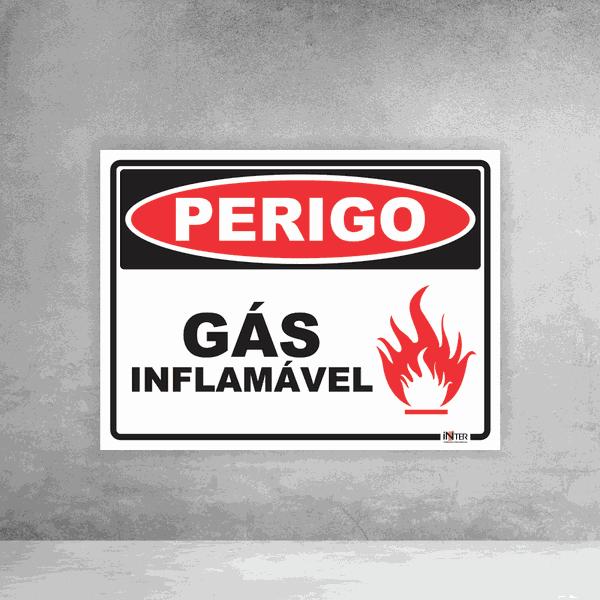 Placa de Sinalização - Perigo Gás Inflamável