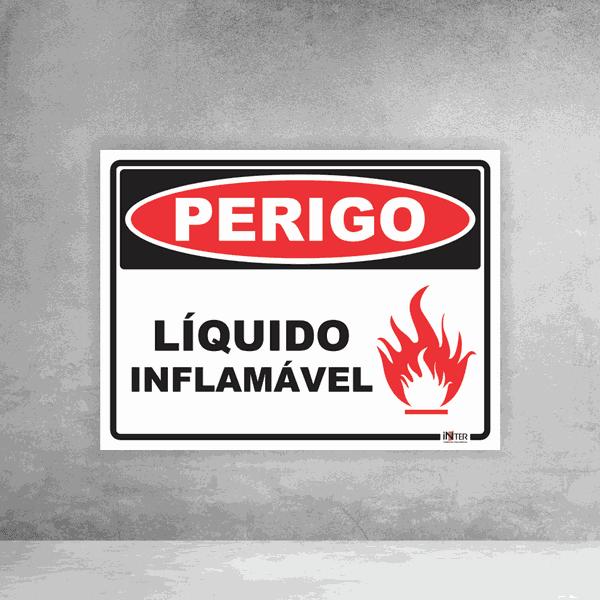 Placa de Sinalização - Perigo Líquido Inflamável