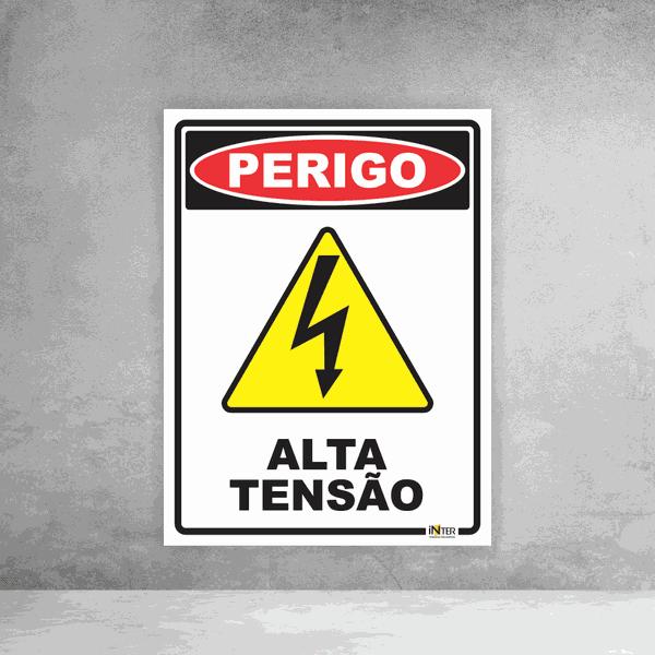 Placa de Sinalização - Perigo Alta Tensão