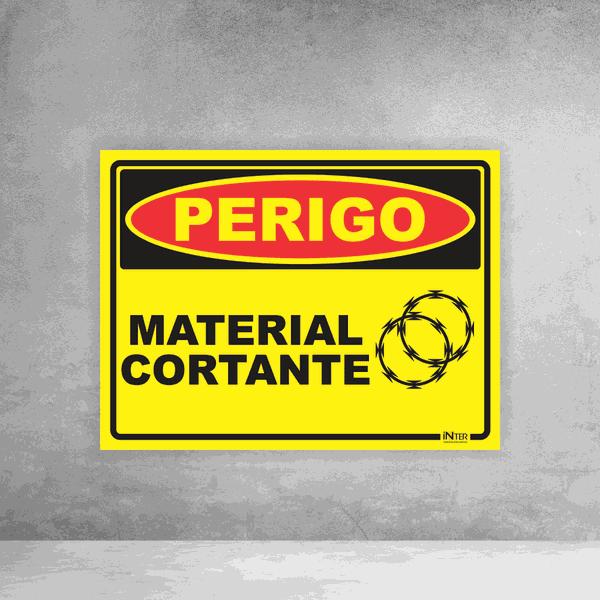 Placa de Sinalização - Perigo Material Cortante - Concertina