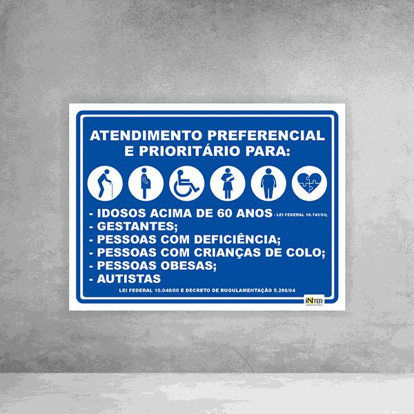 Placa de Sinalização - Atendimento Preferencial e Prioritário