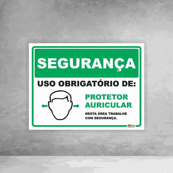 Placa de Sinalização - Segurança Protetor Auricular