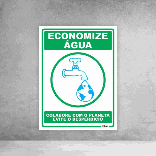 Placa de Sinalização - Economize Água